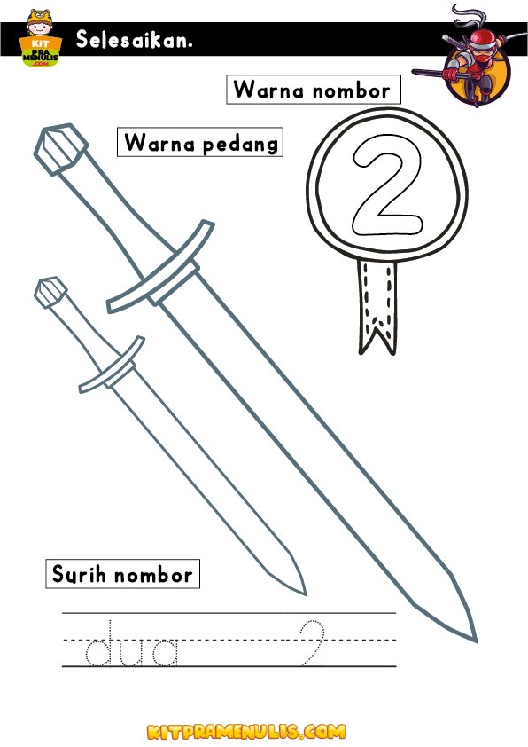 Latihan-Menulis-Nombor-Prasekolah-01 Latihan Menulis Nombor Prasekolah Tema Ninja 123